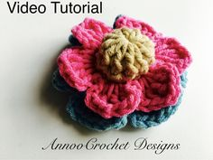 Free Crochet Flower Video Tutorial By AnnooCrochet Designs