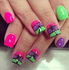 Summer nail art design ideas with palm tree