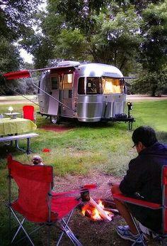 Airstream Bambi Camping, my fav little trailer! by Superduper Airstream Bambi, Airstream Camping, Airstream Trailers, Camping Glamping, Camping Life, Camping Hacks, Outdoor Camping, Airstream Interior, Camping Checklist