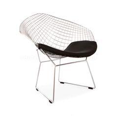 Bertoia Diamond Chair - Black Seat Pad | Vertigo Interiors