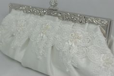 Your place to buy and sell all things handmade Bridal Clutch Bag, Wedding Clutch, Lace Wedding, Wedding Day, White Bridal, Pearl Bridal, Bridal Handbags, Handmade Clutch, Swarovski Pearls