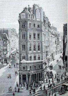 Paris 2e - Rue de Cléry - La maison la plus étroite de Paris (24 m² de base  et 6 étages) en 1896.  Elle se situe à la pointe de la rue de Cléry vers la porte St Denis. Chaque étage comporte deux petites pièces avec un escalier au fond de l'immeuble. André Chénier y habitait en 1793. Il y composa une ode à la gloire de Charlotte Corday . Arrêté , il fut exécuté le 7 thermidor, deux jours avant la chute de Robespierre.