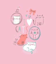 I love cats. Whiskers On Kittens, Cats And Kittens, Crazy Cat Lady, Crazy Cats, I Love Cats, Cute Cats, Kawaii Illustration, Here Kitty Kitty, Kids Prints