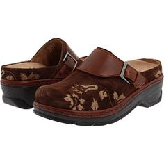 The most comfortable shoes ever!  Klogs USA Austin; Taupe or Coffee Suede Tapestry; $108