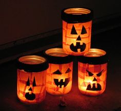 These Jack O'Lantern luminaries are easy for kids to make and they are a fun art project as well. I used orange fabric, but you could use tissue paper.
