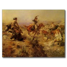 Jerked Down (1907) by CM Russell is a vintage fine art American West painting featuring cowboys lassoing cows and one cowboy is falling with his horse. They are cattle rustlers in the desert prairies of the Southwest.About the artist:Charles Marion Russell (1864-1926) created more than 2,000 paintings of cowboys, Indians, and landscapes set in the frontier of the Western United States of America. #american #west #western #cowboys #cattle #bulls #ranchers #farmers #pioneers #frontiersmen ...