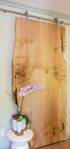 sliding wood slab natural looking door