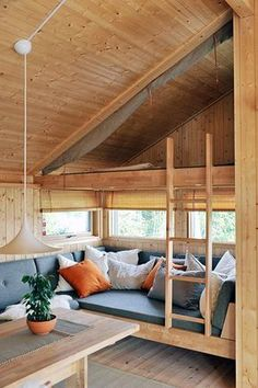 37 Comfortable Interior To Update Your Home - Home Decoration Comfortable Interior To Update Your Home house franklloydwright loft architectureGetaway by Glenmark Construction - Tiny LivingThe tiny house includes a U-shaped sofa in the Tiny House Cabin, Tiny House Living, Tiny House Design, Tiny House Bedroom, Tiny Cabins, Living Room, House Goals, Future House, Small Spaces