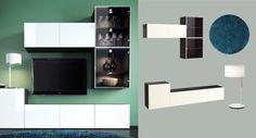 Eine TV-Lösung bestehend aus BESTÅ Aufbewahrungen mit Türen schwarzbraun/Hochglanz/weiß abgebildet mit kurzflorigem BÄLUM Teppich in Blau und LEDET Tischleuchte in Weiß
