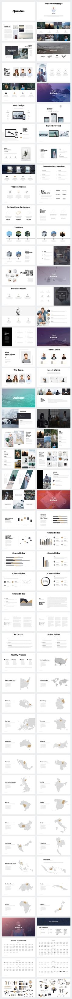 Present your works professional and clean with Quintus Minimal, this powerpoint presentation template has got an awesome contemporary design, with cool photo layouts and creative slides to show your portfolio.