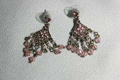 Vintage Pink Rhinestone & Bead Silver Tone Chandelier Earrings Victorian Style Costume Jewelry by KattsCurioCabinet on Etsy