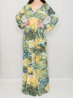Maxi dress Long Sleeve Maxi Dress Snake print dress