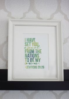 Printable nursery art - Bible verse - Leviticus 20:26 - I have set you apart from the nations to be my own - Watercolor - Customizable
