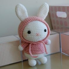 Hooded bunny crochet pattern. miffy style cute kawaii amigurumi crochet rabbit toy great easter gift
