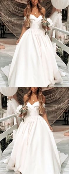 Deep V-neck Ball Gowns Satin Wedding Dresses Off The Shoulder, Shop plus-sized prom dresses for curvy figures and plus-size party dresses. Ball gowns for prom in plus sizes and short plus-sized prom dresses for Western Wedding Dresses, Lace Wedding Dress, Perfect Wedding Dress, Wedding Gowns, Dream Wedding, Trendy Wedding, Wedding Venues, Wedding Ideas, Ball Dresses