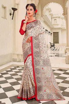 Beige madhubani printed khadi semi silk saree