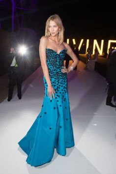 Karlie Kloss opted for an embellished blue Oscar de la Renta gown at the 2015 Cannes Film Festival