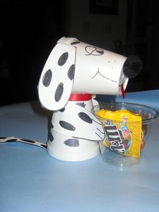 Firehouse Dog Cup. Nic, this is what we made as kids, But we also made fireman hats for them outta red paper