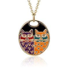 Laurel Burch Portrait Cats Cloisonne Pendant w/ Necklace $47.99
