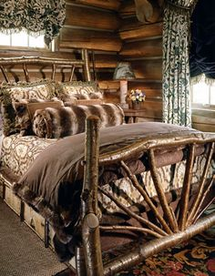 New Home Decoration Rustic Log Cabins Ideas Log Home Living, Log Cabin Homes, Log Cabins, Rustic Cabins, Log Bed, Rustic Bedding, Rustic Bedrooms, Cabins And Cottages, Le Far West