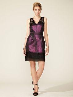 LO QUIEROOOOO Metallic Lace Sleeve Dress by Vera Wang Lavender Label on Gilt.com
