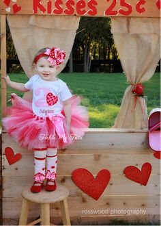 Valentine Sweetheart Birthday Tutu Outfit, Valentine Themed Birthday Party Outfit. Cute picture idea for two year old photo shoot.