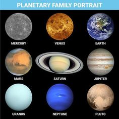 Collage of NASA photos of different planets, including some false-color, enhanced-color, and radar topography with artificial color.