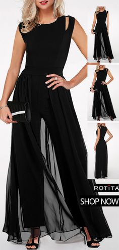 -High Waist Round Neck Chiffon Overlay Black Jumpsuit See it Dress Outfits, Cool Outfits, Fashion Outfits, Fashion Blouses, Women's Fashion, Jumpsuit Dress, Black Jumpsuit, Homecoming Jumpsuit, Outfit Elegantes