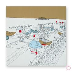 Fishing Boats Embroidery by Gillian Bates