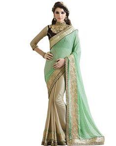 #Dainty #Light #Green & #Beige #Embroidered #Saree