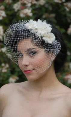 Wedding Dress Accessories - Veil Cream Birdcage Lori London Rose comb with veil $85 USD - New With Tags/ Unaltered