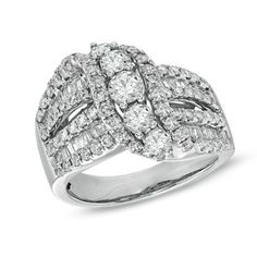 2 CT. T.W. Baguette and Round Diamond Open Shank Swirl Ring in 14K White Gold - Zales :)