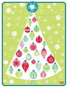 free advent calendar printable, calendrier de l'avent