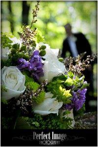 Wedding flowers, white wedding flowers, purple wedding flowers, green wedding flowers.