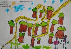 Idee voor roodkapje. Plaats aan de ene kant van het blad een huisje en aan de andere kant. Kinderen moeten zelf het bos eromheen maken en het paadje dat roodkapje loopt. Natuurlijk moet het bloemenveldje ook te vinden zijn :-) Wolf, Too Cool For School, Rapunzel, Fairy Tales, Disney Characters, Fictional Characters, Artist, Kids, Inspiration