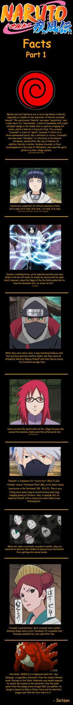 Naruto Facts Part 1. OMG but seriously, the thing under the fact about Karin...I could breathe.