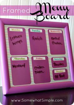 Framed Menu Board or To Do List Tutorial