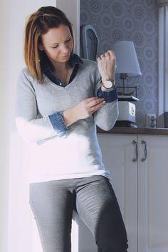LA PETITE PRINCESSE grey sweater with jeans shirt