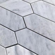 Bianco Carrara Mini Kite Hone Marble Mosaic. #featuretiles #mosaictiles #marblemosaics #marbletiles #bathroomtiles #kitchentiles #marblemosaicbacksplash #marblemosaicsplashback Marble Mosaic, Mosaic Tiles, Feature Tiles, Mini, Tile Floor, Flooring, Texture, Mosaic Pieces, Surface Finish