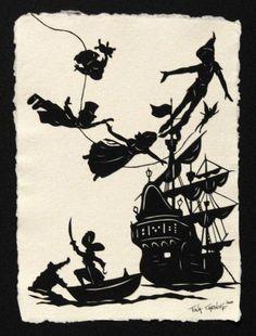 Peter Pan Deco Disney, Art Disney, Disney Love, Disney Magic, Peter Pan Silhouette, Silhouette Cameo, Kirigami, Peter Pan Disney, Papercut Art