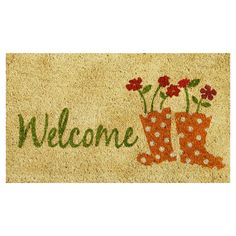 Extend a warm greeting to your guests with this lovely coir doormat, featuring a playful rainboots print.  Product: Doormat...
