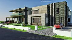 3D Front Elevation.com: 2, 2 KANAL DHA Karachi MODERN CONTEMPORARY House Design with Swimming Plool 3D Front Elevation