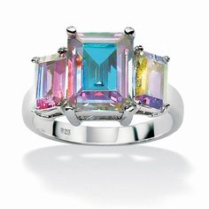 PALM BEACH JEWELRY Light your days and nights with our magnificent aurora borealis cubic zirconia ring classically designed and glimmeringPrice - $49-L6EVXGQn