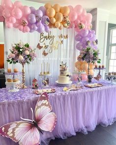 Baby Girl Shower Themes, Girl Baby Shower Decorations, Baby Shower Fun, Baby Shower Balloons, Baby Shower Gender Reveal, Beautiful Baby Shower, Butterfly Birthday Party, Butterfly Baby Shower, Birthday Ideas