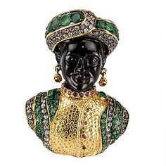 Blackamoor-Ruby-Emerald-Gilt-Sterling-Designer-Brooch-Pin-Pendant