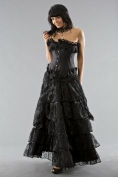 Flamingo long skirt black lace