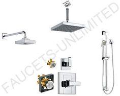 All options for a Moen shower system; wall head; ceiling head; handsprayer