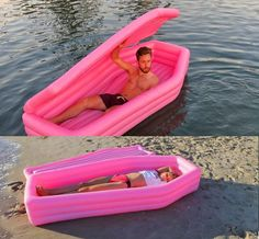 Coffin Pool Float Helps You Lounge On The Verge Of Death Sarg Pool Float hilft Ihnen am Rande des Todes Lounge Funny Pool Floats, Cool Pool Floats, Piscina Intex, Packing List Beach, Camper Makeover, Summer Pool, Pool Toys, Cool Stuff, Water Toys