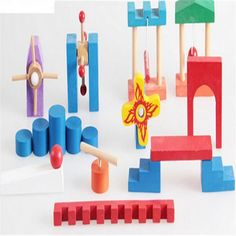 18pcs Baby candy colors wood domino blocks Toys Building Blocks Educational Wooden Blocks Toys gift