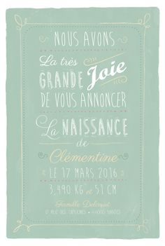 Faire-part de naissance Happy day by ÉLÉPHANT (rose) pour www.fairepartnaissance.fr #green #birth #announcement